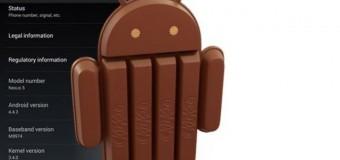 Nexus 5'ler için Android 4.4.3 KitKat güncellemesi