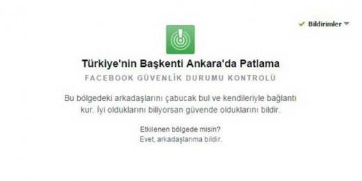 Facebook Ankara için 'Güvendeyim' butonunu devreye aldı